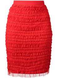 Givenchy Ruffle Embellished Pencil Skirt Red
