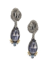 Alexis Bittar Elements Dark Alchemy Pyrite And Crystal Coiled Serpent Marquis Clip On Drop Earrings Blue