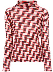 Issey Miyake Pleats Please By Geometric Print Pleated Blouse Pink Purple