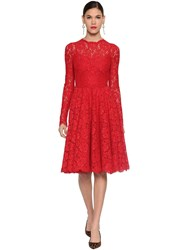Dolce And Gabbana Lace Round Skirt Midi Dress Red