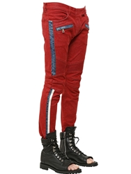 Balmain 17Cm Bands Cotton Denim Biker Jeans Red