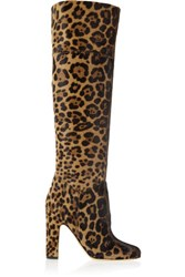 Brian Atwood Renee Leopard Print Calf Hair Knee Boots Leopard Print
