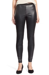Eileen Fisher Blocked Leather Leggings Black