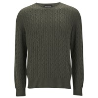 Knutsford Men's Cashmere Cable Knit Sweater Khaki Green