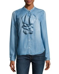 Philosophy Ruffle Front Chambray Blouse Blue