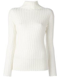 Blumarine Turtleneck Ribbed Knit Jumper White