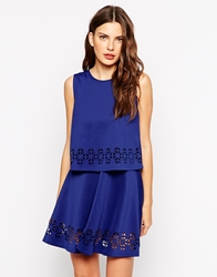 Club L Overlay Dress With Cutouts Cobalt