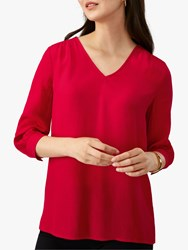 Pure Collection V Neck Top Scarlet
