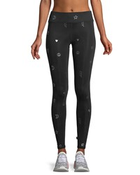 Terez Foil Tall Band Full Length Performance Leggings Black Silver