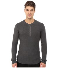 Howe Tokyo Long Sleeve Knit Henley Charcoal Grey Heather Men's Clothing Gray