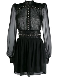 John Richmond Sheer Studded Dress Black