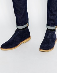 New Look Lace Up Desert Boots Navy