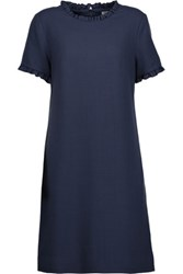 Goat Birdie Ruffle Trimmed Wool Crepe Mini Dress Navy