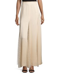Michael Kors Lace Inset Godet Maxi Skirt Nude Brown