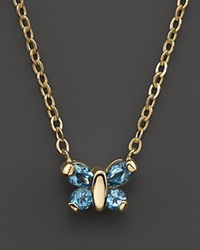 Bloomingdale's Blue Topaz Butterfly Pendant Necklace In 14K Yellow Gold 16
