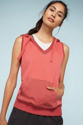 Anthropologie Pocketed Sleeveless Hooded Sweatshirt Red