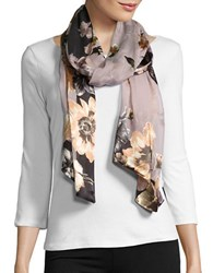 Collection 18 Floral Silk Blend Scarf Neutral