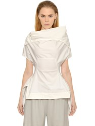 Rick Owens Draped Stretch Cotton Poplin Top
