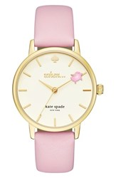 Kate Spade Women's New York Metro Round Leather Strap Watch 34Mm