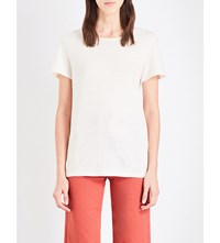 Mih Jeans Nora Cotton And Linen Blend T Shirt Cream Cream