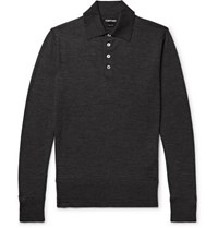 Tom Ford Slim Fit Knitted Wool Polo Shirt Charcoal