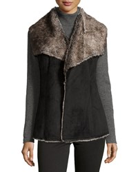 Neiman Marcus Faux Shearling Draped Vest Black