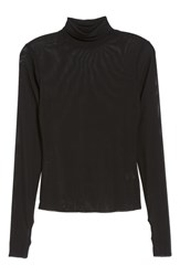Afrm Zadie Semi Sheer Turtleneck Noir Stripe