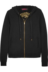 Versus Embroidered Stretch Cotton Fleece Hooded Top Black