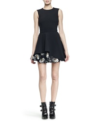 Alexander Mcqueen Floral Brocade Peplum Skirt Fit And Flare Dress