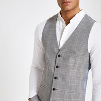 River Island Grey Check Print Suit Waistcoat