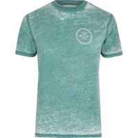 River Island Mens Mint Green Burnout Slim Fit T Shirt