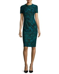 Black Halo Short Sleeve Printed Lace Sheath Dress Women's Teal