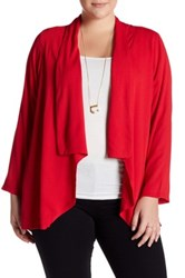Bobeau Long Sleeve Cardigan Plus Size Red