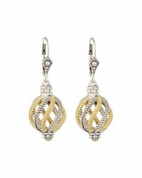 Lagos Silver And 18K Gold Soiree Circular Swirl Drop Earrings