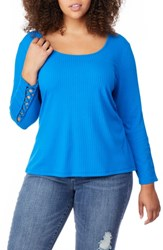 Rebel Wilson X Angels Plus Size Lace Up Sleeve Top Directoire Blue