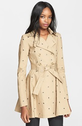 Red Valentino Grommet Detail Double Breasted Flared Trench Coat Duna