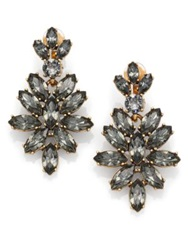 Oscar De La Renta Bridal Navette Drop Earrings Black Diamond