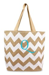 Cathy's Concepts Personalized Chevron Print Jute Tote White White Natural Q