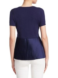 Saks Fifth Avenue Pleated Back Pullover Navy White