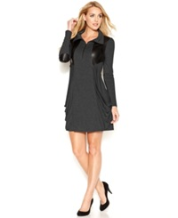 Kensie Quarter Zip Stand Collar Mixed Media Dress Heather Charcoal Combo