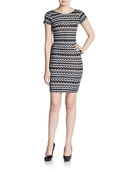 Saks Fifth Avenue Red Printed Body Con Dress Black White
