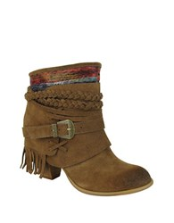 Naughty Monkey Saddle Baggin Suede Booties Tan