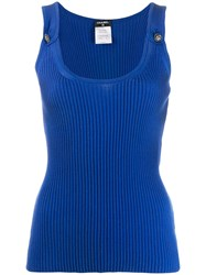 Chanel Vintage 2010'S Buttoned Ribbed Tank Blue