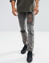 Mennace Slim Jeans In Washed Black With Distressing Black