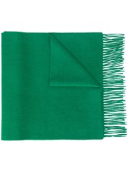 N.Peal Knitted Fringed Scarf Green