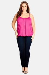 City Chic Bubble Hem Camisole Plus Size Fuchsia