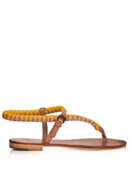 Alvaro Andreina Velvet And Leather Sandals Pink Multi