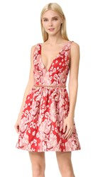 Marchesa Sleeveless Leopard Cocktail Dress Red