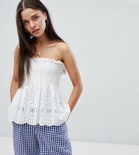Milk It Vintage Bandeau Top In Broderie White