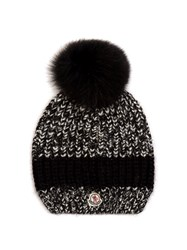 Moncler Fur Pompom Ribbed Knit Hat Black Multi
